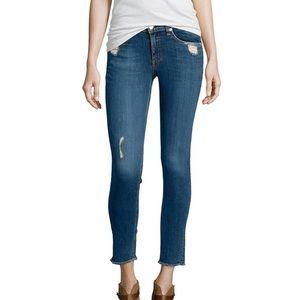 Rag & Bone blue distressed mid rise skinny jeans